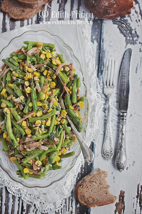 Salata de fasole verde cu porumb