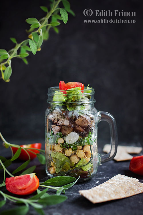 Salata cu ficatei si naut / salata verde, ficatei prajiti, ceapa verde si naut/ Edith's Kitchen