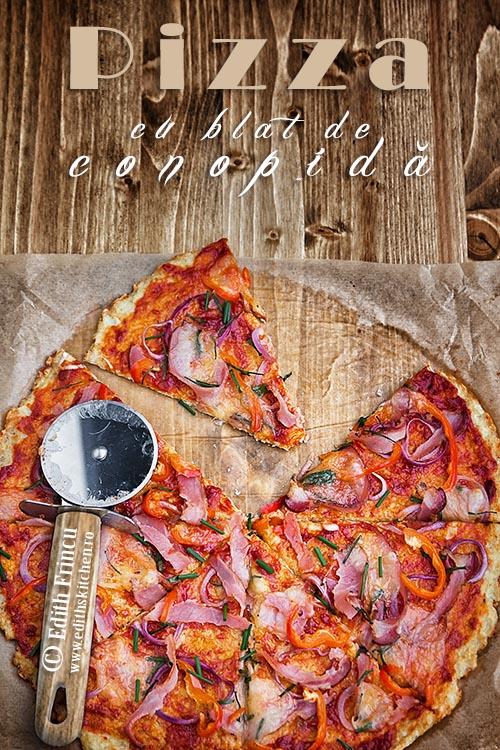 pizza cu blat de conopida 1b 1 - Pizza cu blat de conopida