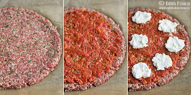 pizza necoapta 1 - Pizza cu blat de carne