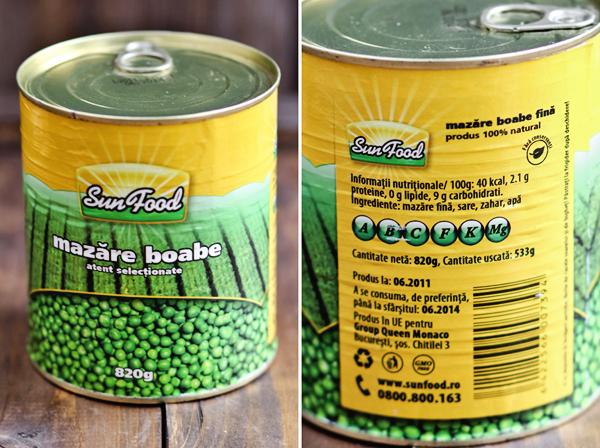 conserve mazare  Sun food 1 - Salata de oua cu mazare si sunca