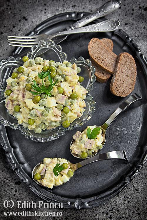 salata de oua cu sunca si mazare Sun Food 1 1 - Salata de oua cu mazare si sunca