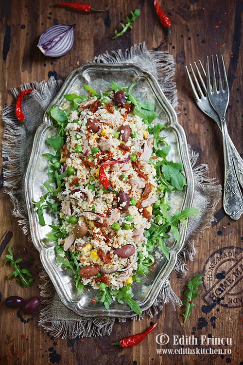 Salata cu cous cous - Salata cu ton si cous cous