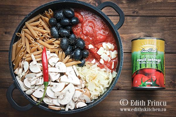 paste cu ciuperci si masline ingrediente - Paste cu ciuperci si masline