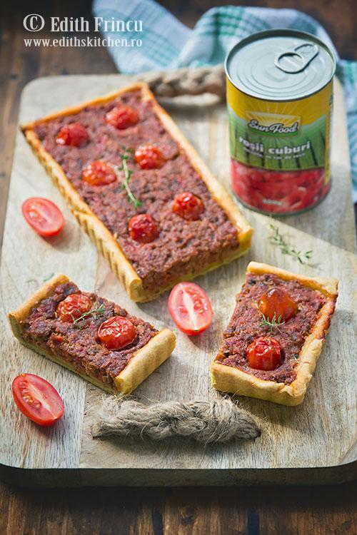 tarta rustica cu carne sun food - Tarta rustica cu carne
