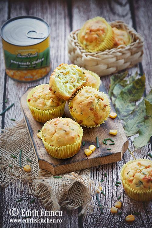 muffins cu porumb 1 - Muffins cu porumb si chives