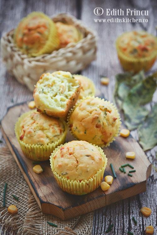 muffins cu porumb - Muffins cu porumb si chives