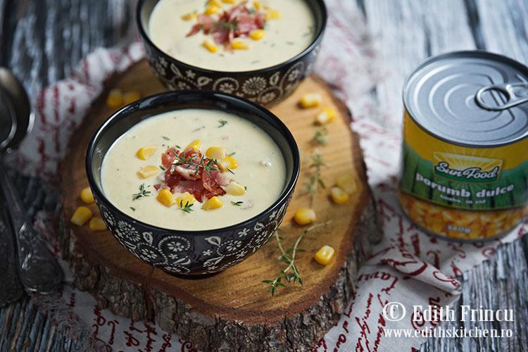 supa crema de porumb cu bacon Sun Food - Supa crema de porumb cu bacon