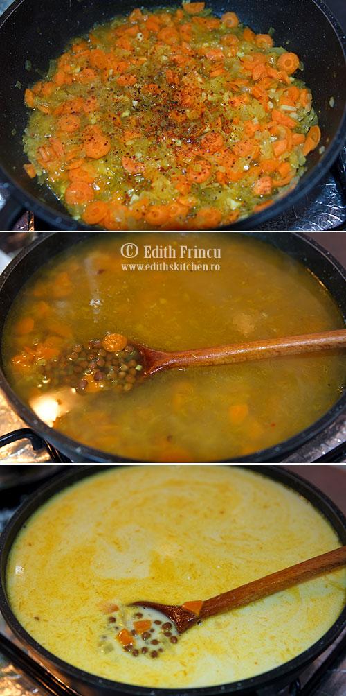 etape supa linte - Supa crema de linte cu cocos
