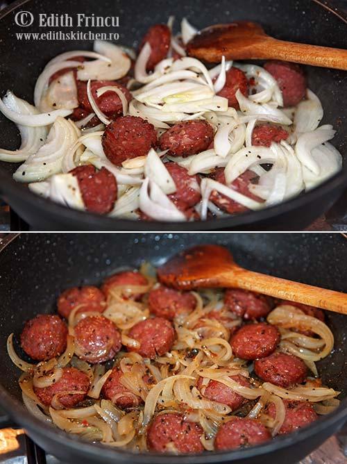 ceapa cu chioriso - Tocanita cu cartofi si carnati chorizo