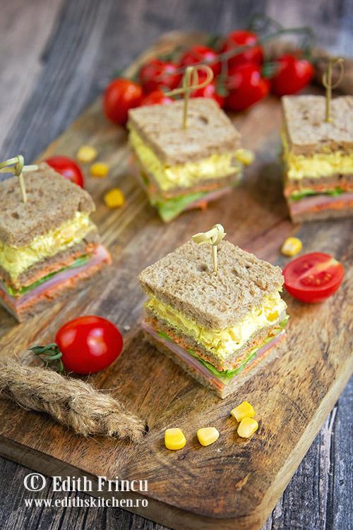 club sandwich cu porumb si sunca 2 - Club sandwich cu porumb si sunca
