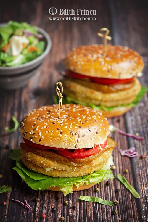 burger de conopoda cu pere caramelizate - Burger de conopida cu pere caramelizate