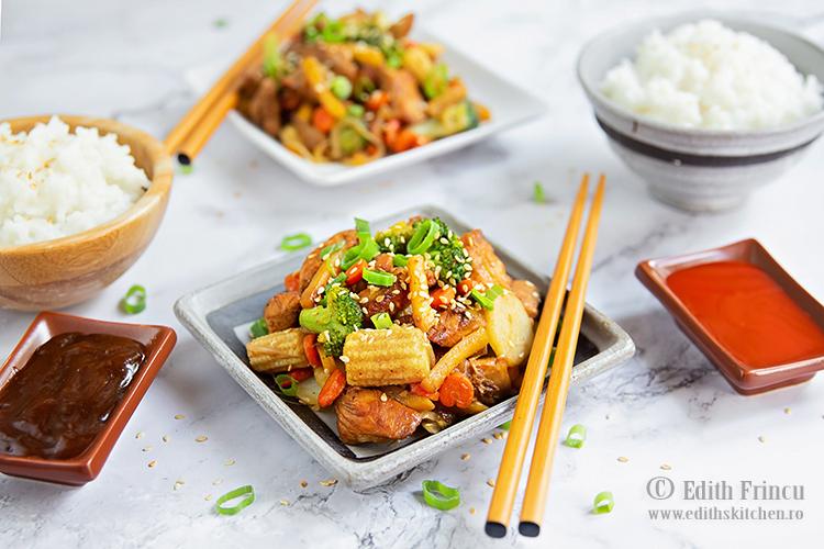 pui cu legume in stil asiatic 1 - Pui cu legume in stil asiatic