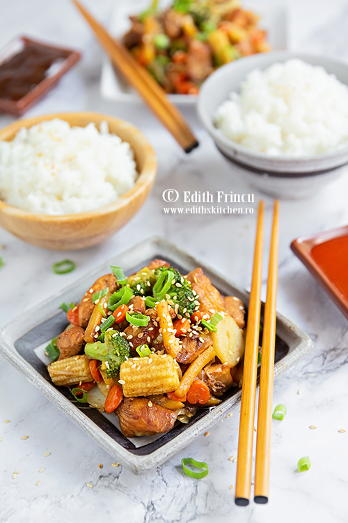 pui cu legume in stil asiatic - Pui cu legume in stil asiatic