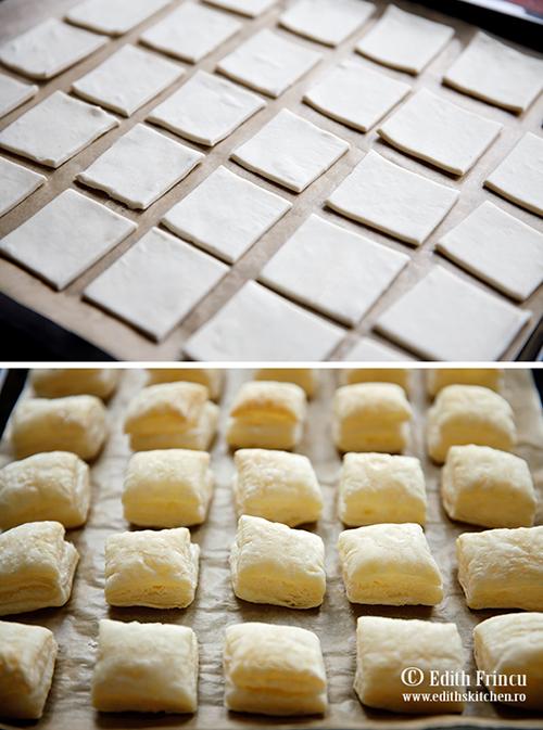 patratele din foietaj - Mini prajituri cu foietaj si nutella