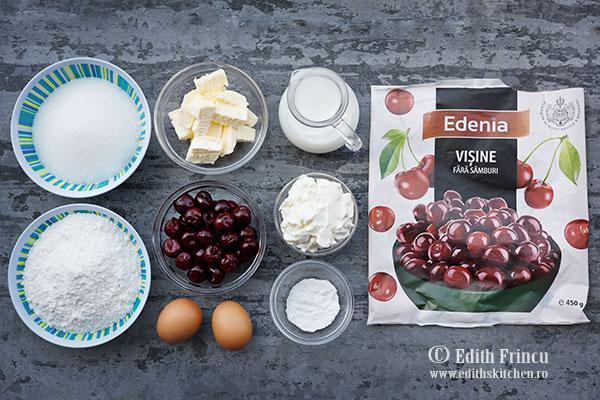 ingrediente prajitura cu visine si branza - Prajitura cu branza si visine